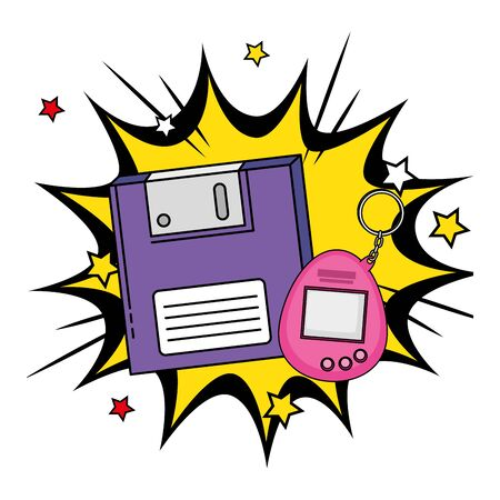 floppy with video game mascot of nineties in explosion pop art vector illustration design