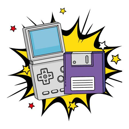 floppy with video game handle of nineties in explosion pop art vector illustration design