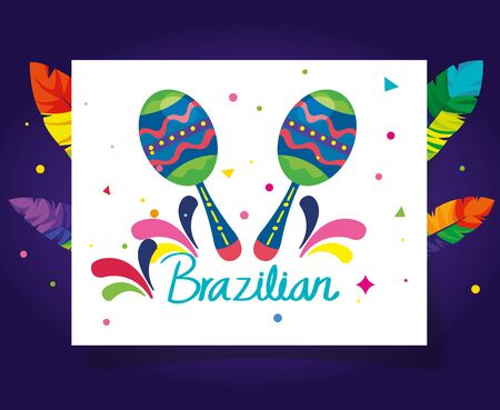 poster of brazilian carnival with maracas and decoration vector illustration design Illustration