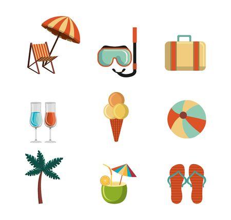 bundle of summer season set icons vector illustration design