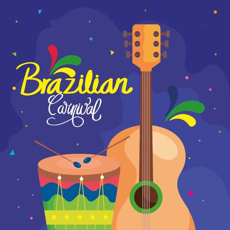 poster of carnival brazil with guitar and drum vector illustration design 向量圖像