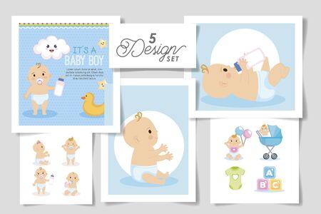 set five designs of baby shower for boy vector illustration design