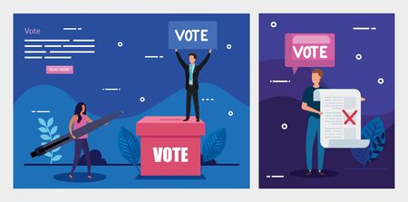 set poster of vote with business people vector illustration design