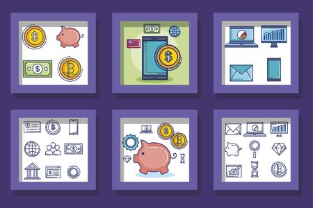 Frames set of money financial item banking commerce market payment buy currency accounting and invest theme Vector illustration Stock Illustratie