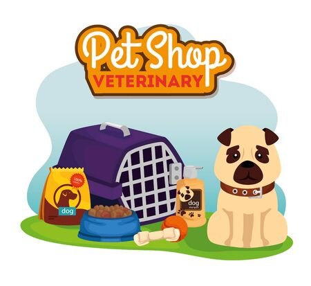 pet shop veterinary with cute dog and icons vector illustration design Illustration
