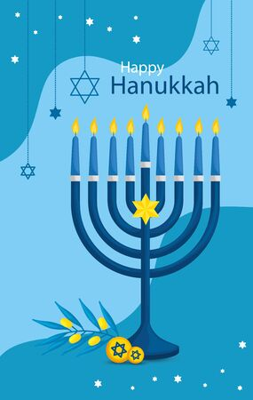 happy hanukkah with chandelier and icons vector illustration design Çizim