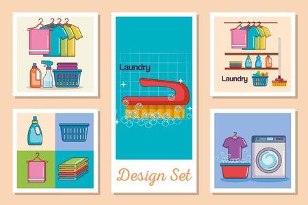 designs set of laundry and icons vector illustration design Ilustração