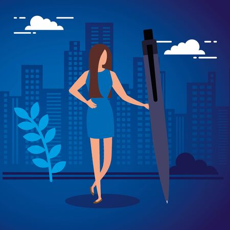 business woman with pen in cityscape vector illustration design