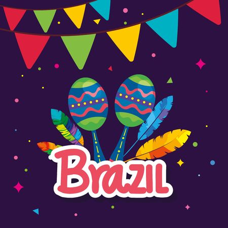 poster of brazil carnival with maracas and decoration vector illustration design