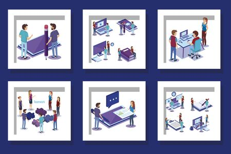 bundle of people and office equipments vector illustration design