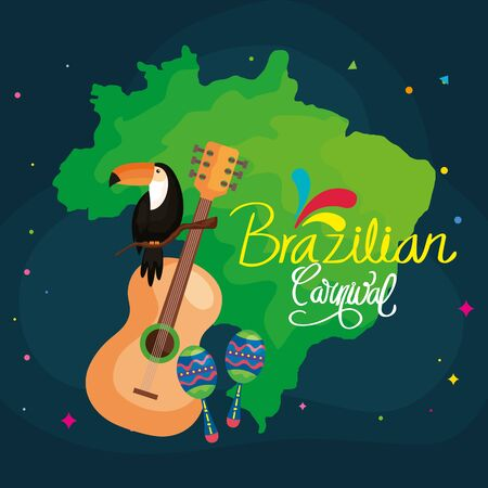 poster of brazilian carnival with map and icons traditional vector illustration design 向量圖像