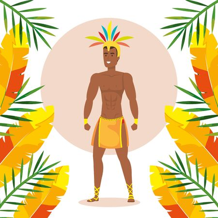 exotic dancer brazil man with tropical decoration vector illustration design