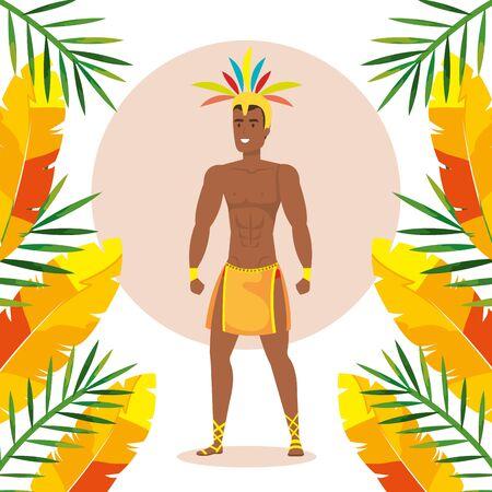 exotic dancer brazil man with tropical decoration vector illustration design