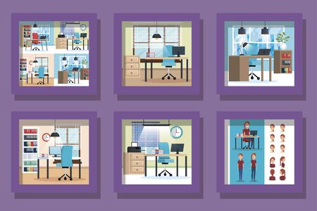 bundle of workplaces scenes and icons vector illustration design
