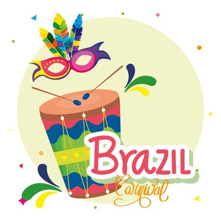 poster of carnival brazil with drum and decoration vector illustration design Ilustracja