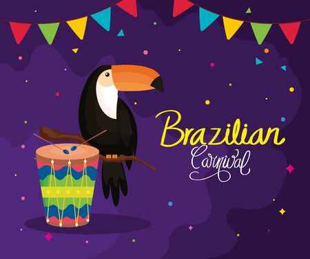 poster of brazilian carnival with toucan and drum vector illustration design