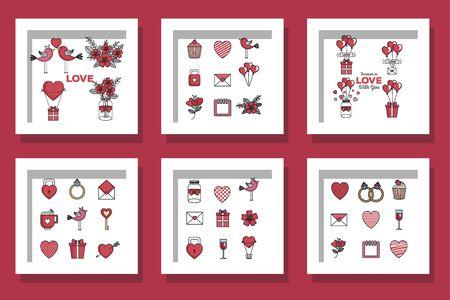 bundle of designs love and decoration vector illustration design