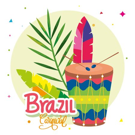 poster of carnival brazil with drum and decoration vector illustration design Illustration