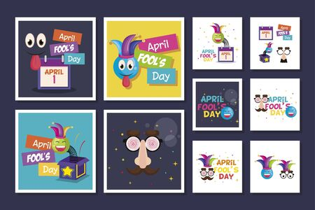 bundle of april fools day with icons decoration vector illustration design