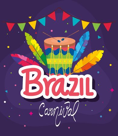 poster of brazil carnival with drum and decoration vector illustration design