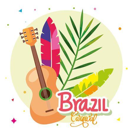 poster of brazil carnival with guitar and decoration vector illustration design Illustration