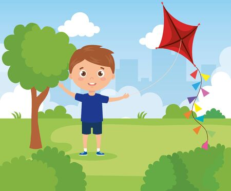 cute boy in park with kite vector illustration design
