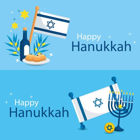 set poster of happy hanukkah with decoration vector illustration design