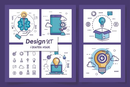 set six designs of teamwork with icons vector illustration design
