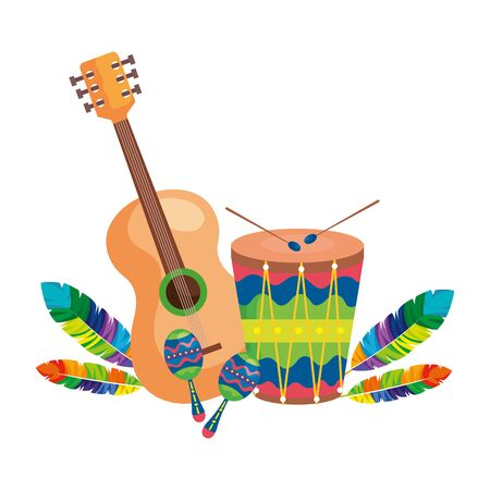 guitar with drum and maracas isolated icon vector illustration design Illustration
