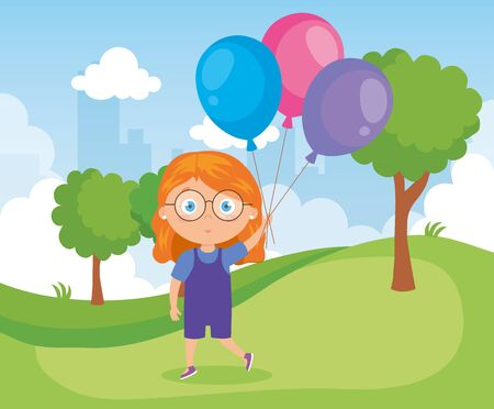 girl in park with balloons helium vector illustration design
