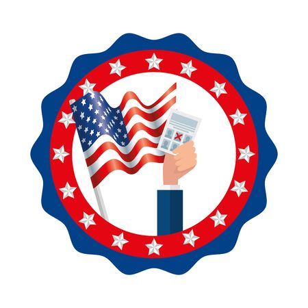 Usa vote paper and flag inside seal stamp design, United states america independence labor day nation us country and national theme Vector illustration  イラスト・ベクター素材