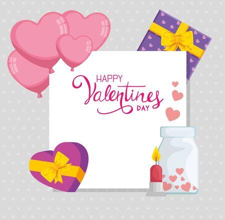 happy valentines day with set decoration vector illustration design