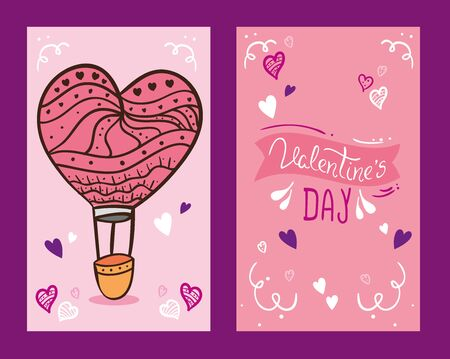 set cards of happy valentines day with decoration vector illustration design