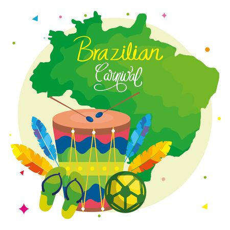 poster of carnival brazilian with drum and icons traditional vector illustration design