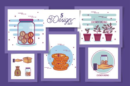 five designs of crowdfunding and icons vector illustration design Illustration