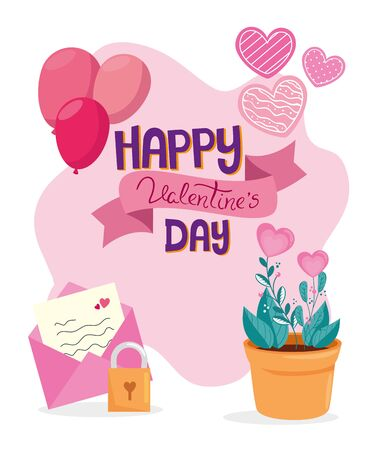 happy valentines day card with decoration vector illustration design