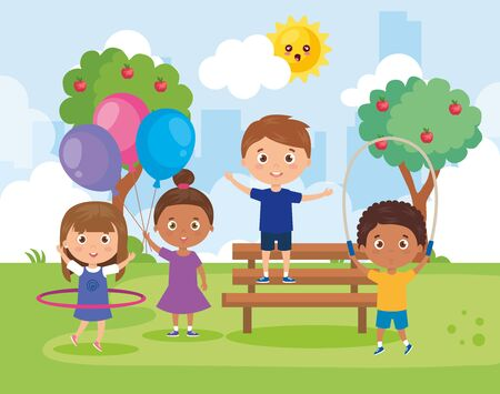 little group children playing in park landscape vector illustration design Ilustracja