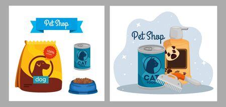 set poster of pet shop veterinary with icons vector illustration design Illusztráció