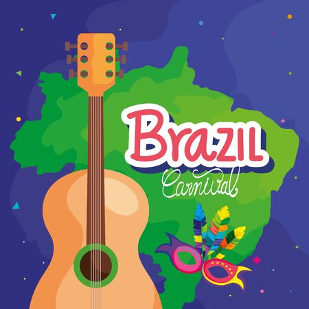 poster of carnival brazil with map and icons traditional vector illustration design Ilustrace