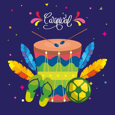 poster of brazil carnival with drum and icons traditional vector illustration design Illustration