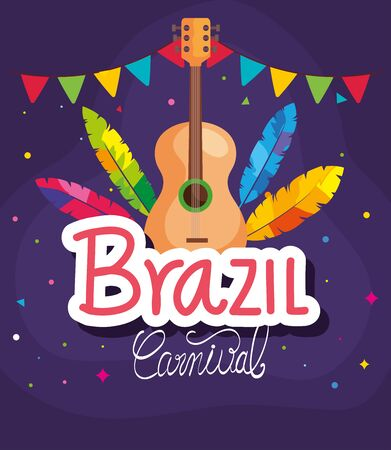 poster of brazil carnival with guitar and decoration vector illustration design Иллюстрация