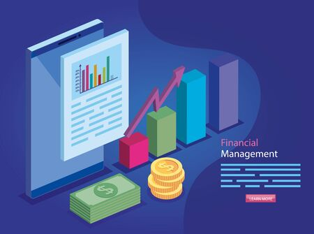 financial management with document and icons vector illustration design