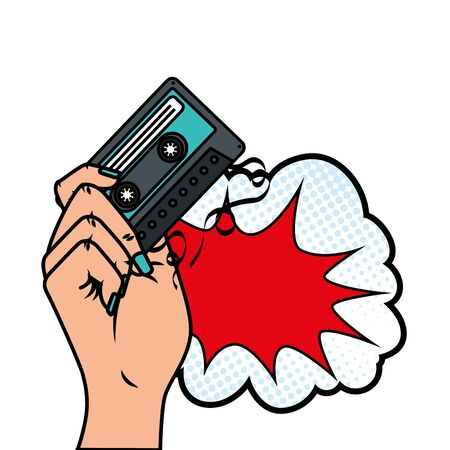 hand with cassette and cloud pop art style icon vector illustration design