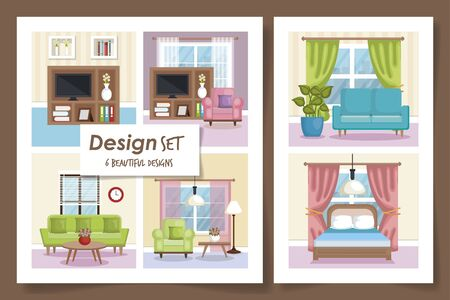 six designs scenes interior of home and icons vector illustration design 矢量图像