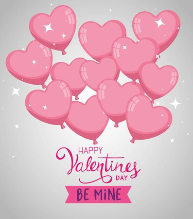 happy valentines day with balloons helium in shape hearts vector illustration design