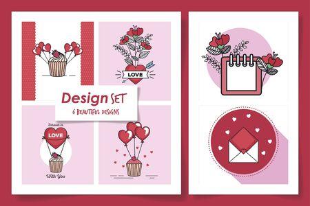 set six designs of love and decoration vector illustration design