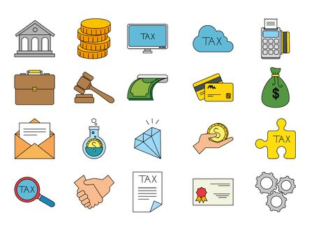 Icon set of money tax financial item banking commerce market payment buy currency accounting and invest theme Vector illustration