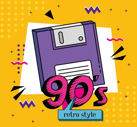 floppy of nineties retro style isolated icon vector illustration design