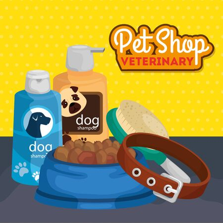 pet shop veterinary with care bottles and icons vector illustration design Illustration
