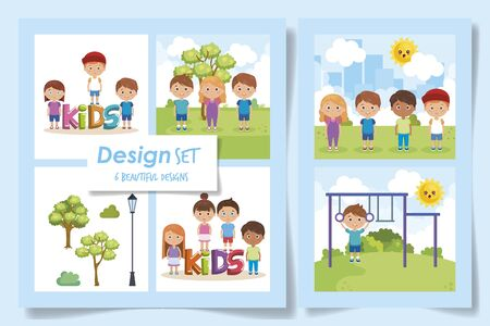 six designs of kids in the park vector illustration design